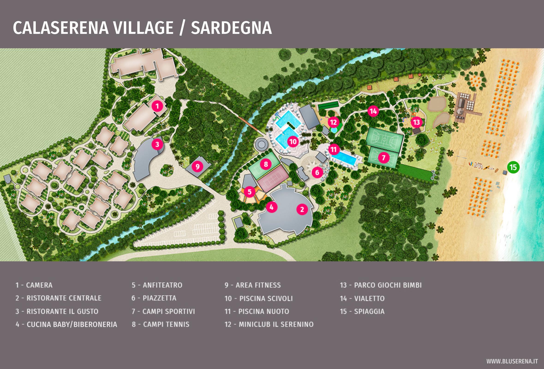 Cartina Sardegna Con Hotel.Villaggio Turistico In Sardegna Calaserena Village Bluserena